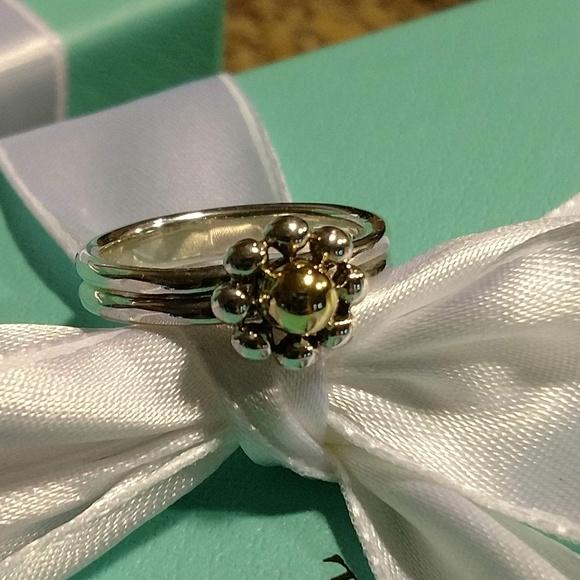 ee24426fec028 Vintage Tiffany & Co Jolie 18k 925 Flower Ring